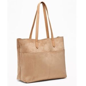 Sueded East-West Tote Tan